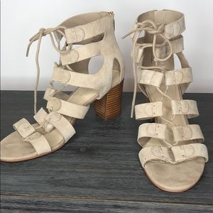 Marc Fisher Paradox Lace Up Tan Gladiator, 7.5